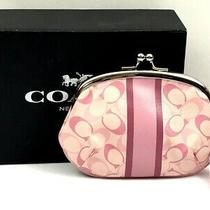 Coach Signature Stripe Kisslock Framed Pink/white Coated Canvas Coin Purse Photo