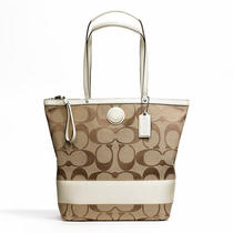 Coach Signature Stripe Large Tote Style F24301 Sv/khaki/white Photo