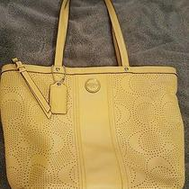 Coach Signature Stripe Perforated Leather Tote 21941 Yellow Photo