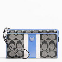Coach Signature Stripe Pvc Stripe Zippy Wallet Style F49078 Sv/black White... Photo