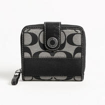 Coach Signature Stripe Slim Medium Wallet Style F47847 Sv/black White/black Photo