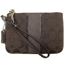 Coach Signature Stripe Small Mahogany Wristlet F49174 Photo