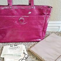 Coach Signature Stripe Stitched Patent Leather Diaper Bag Tote Purse Pink F19256 Photo