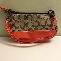 Coach Signature Stripe Top Handle Khaki Mahogany  Photo
