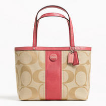 Coach Signature Stripe Top Handle Tote Style F48798 Sv/light Khaki/coral Photo
