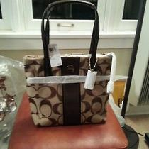 Coach  Signature Stripe Tote. B4/khaki/mahogany. F25771  Photo