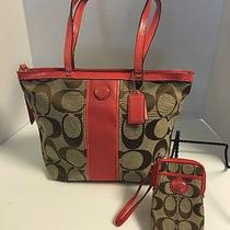 Coach Signature Stripe Tote Bag Khaki Tea Rose F21950 W/cell Phone Wristlet Nwt Photo