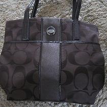 Coach Signature Stripe Tote Mahogany/brown Photo