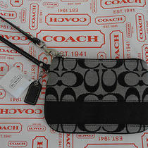 Coach Signature Stripe Wristlet Coin Purse-F47790- Black White-Fits Iphone 58 Photo