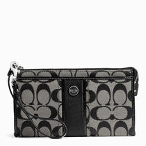 Coach Signature Stripe Zippy Wallet Style F49139 Sv/black White/black Photo