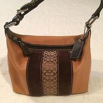 Coach Signature  Suede Canvas Leather Handbag Sweet Photo