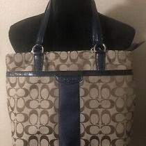 Coach Signature Tan and Navy Blue Tote/shoulder Purse F28504 Photo