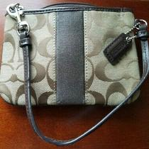 Coach Signature Tan Brown Wristlet Clutch Pouch Wallet Canvas Leather 4