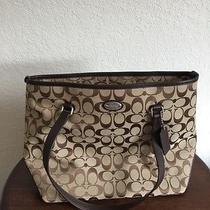 Coach Signature Tan Cloth  and Leather Purse Handbag Photo