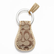 Coach Signature Tear Drop Key Ring Style F61862 Sv/khaki/metallic Photo
