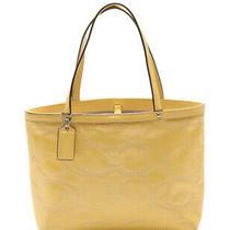 Coach Signature Tote Bag Enamel Leather Yellow Photo