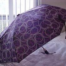 Coach Signature Umbrella Daisy  Ocelot Leopard Cheetah Purple Black Compact New Photo