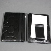 Coach Signature Wallet Card Case Money Clip Embossed  Black 74418 New Photo