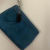 Coach Signature Woven Blue Wristlet Photo