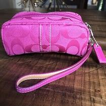 Coach Signature Wristlet Cosmetic Pouch - Good Condition Photo