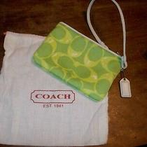 Coach Signature Wristlet Green Scribble W/white Leather Charm & Logo Bag Photo