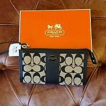 Coach Signature Wristlet  Navy Blue Brand New With Tags and Box Photo