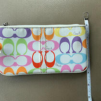 Coach Signature Wristlet Sateen Multicolor Brand New With Tag Photo