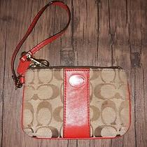 Coach Signature Wristlet Wallet Red and Brown  Photo