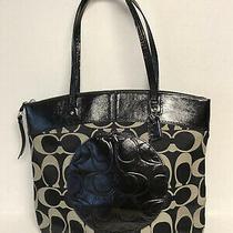 Coach Signature Zip Top Laura Purse Shoulder Handbag Tote F18335 Black Gray Lg Photo