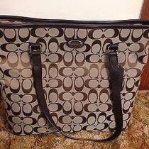 Coach Signature Zip Top Tote Shoulder Khaki/mahogany F36375 Nwt Photo