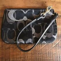 Coach  Signature Zip Wristlet Black and Silver Photo