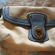 Coach Signature Zipper and Turn Lock Tan /gold Blue Canvas Wristlet Photo