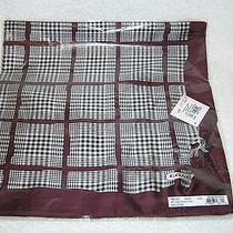 Coach Silk Peyton Glen Plaid Scarf Bordeaux 27 X27 F85197 New 80 Photo