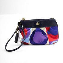 Coach Silk Printed Zipper Closure Small Wallet Clutch Pink Multicolor Photo