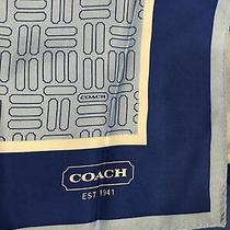 Coach Silk Scarf Light Blue/dark Border With Geometric Pattern 26x 26 Square Photo