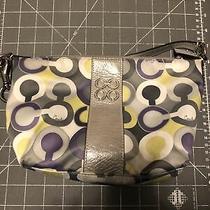 Coach Silver Gray Yellow White Lilac Handbag Purse 8lx7h X 3.5w Clean Photo