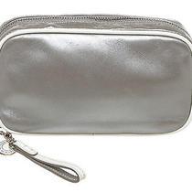 Coach Silver Metallic Leather Zip Pouch Photo