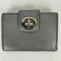 Coach Silver Metallic Twist Lock Bi-Fold Small Wallet Photo