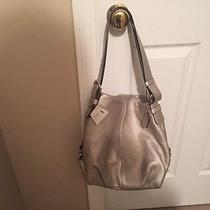 Coach Silver Pebbled Leather Duffle Shoulder Bag Crossbody Bag New With Tags Photo