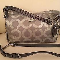 Coach Silver Signature Cloth and Leather Handbag Photo