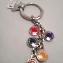 Coach Silver-Toned Multicolor Disc Key Chain/ring/fob F63982 W/gift Box & Tissue Photo