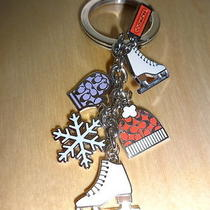 Coach Silvertone Key Fob Chain Charm Ice Skates Hat Mittens Snowflake New Photo