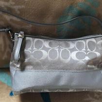 Coach  Silvery Blue Jacquard Satchel Pouch Purse Handbag Photo