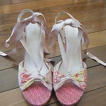 Coach Size 10 Pink Floral Wedge Sandals Photo