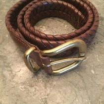 Coach Size 30 Brown Leather Braided Belt With Gold Tone Buckle Photo