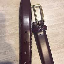 Coach Size 34 Burgandy Genuine Calfskin and Solid Brass Belt  Photo