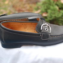 Coach Size 5 B Black Leather Flat Loafers Shoes Photo