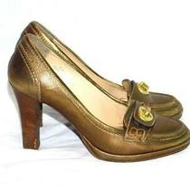 Coach Size 5 B Gold High Heel Shoes Pumps Leather Italy Made Womens Photo