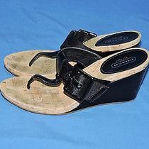 Coach Size 7 1/2 Bernadette Black Thong Sandals Wedge Heels Patent Leather Cork Photo