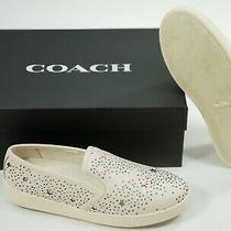 Coach Size 8.5 Laser Cut Slip on Leather Sneakers New in Box Photo